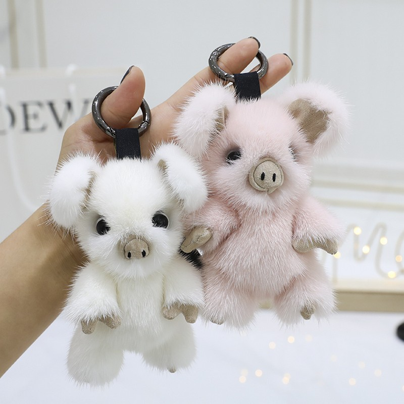 2019 New Cute Pig Keychain Mink Fur Pig Keyring Holder Bag Charm Trinket Chaveiros Bag Accessories Punk Style Pendant Girl