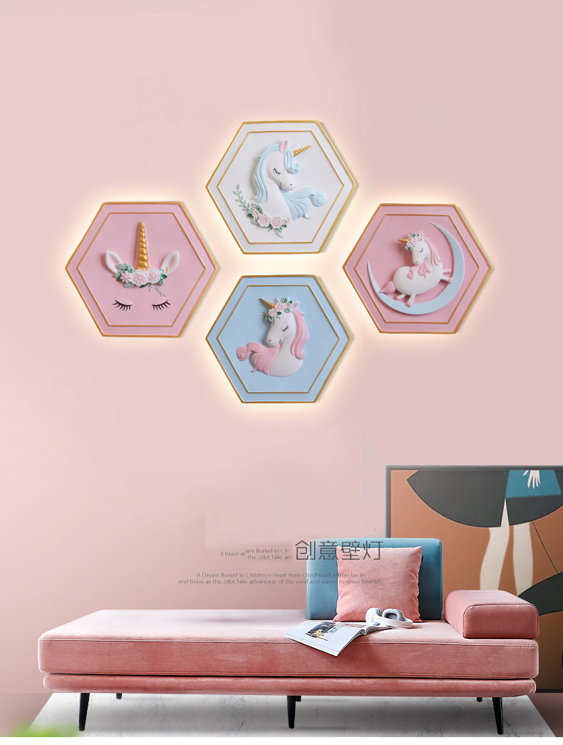 Cartoon Kids Bedroom Bedside Wall Lamp With Switch For Wall Lamp With Chain Resin Unicorn Pink Wall Light For Kids Nursery Room Led Indoor Wall Lamps Aliexpress