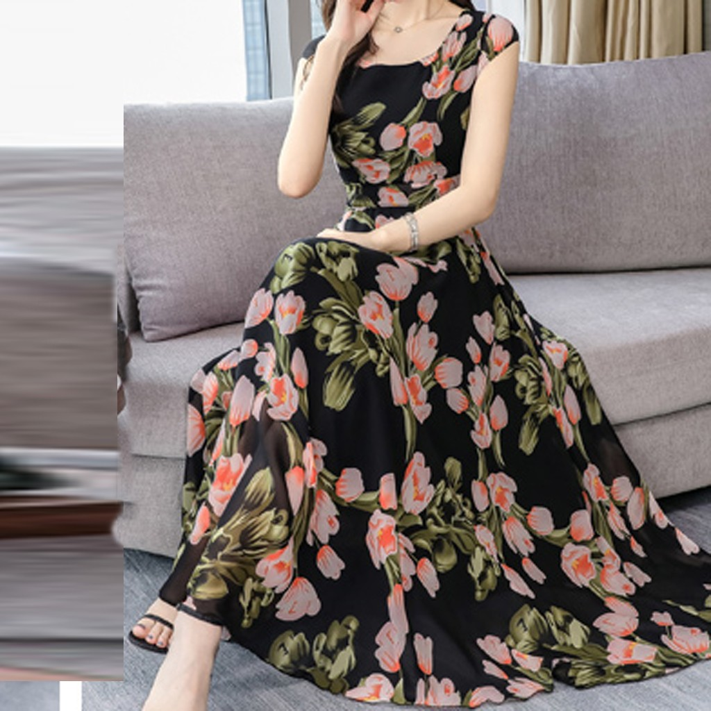 Summer Women Dress 2019 Vintage Fashion Sexy Bohemian Floral Elegant O-Neck Short Sleeve Female Loose Printing Dress Elegant
