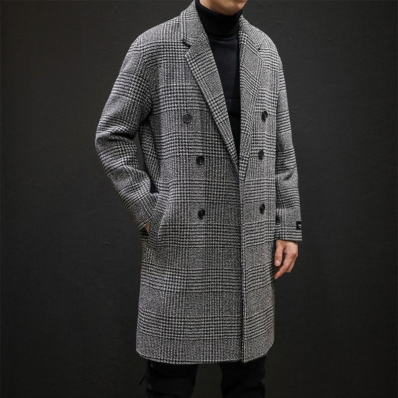 Мужское шерстяное пальто YASUGUOJI, повседневное двубортное пальто с отложным воротником, Длинная шерстяная ветрозащитная куртка, зима 2019|Пальто| | АлиЭкспресс