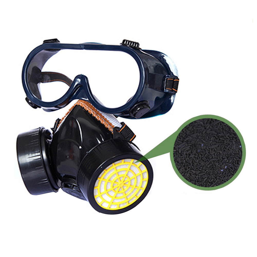 Gas Mask Chemical Gas Anti Dust Paint Industrial Respirator Dual Filter Face Safety Protection Mask with Goggles Masks     - title=