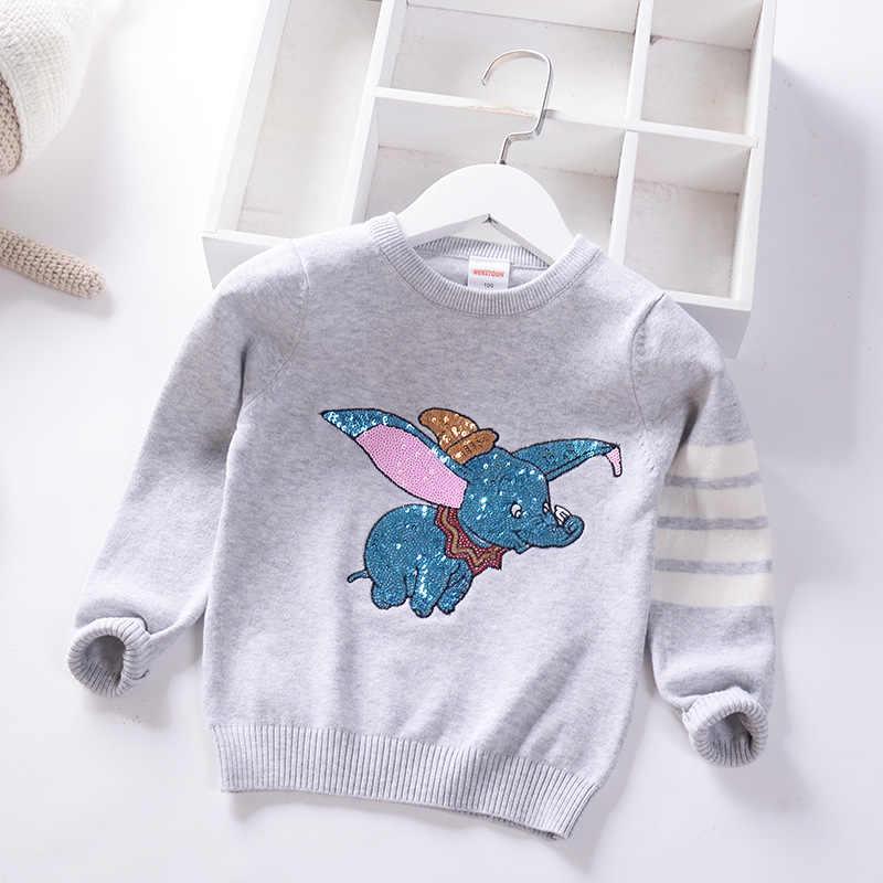 가을 겨울 어린이 스웨터 만화 장식 조각 여자를위한 풀오버 스웨터 부드러운 어린이 니트 스웨터 아기 소녀 스웨터 3-7 Y