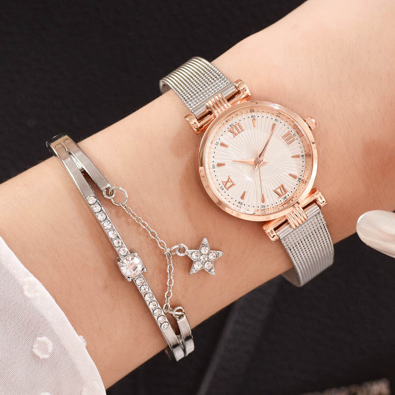 Women Watches Fashion Silver Metal Band Watch With Bracelet Set Ladies Wristwatch Roman Gift Clock Relogio Feminino