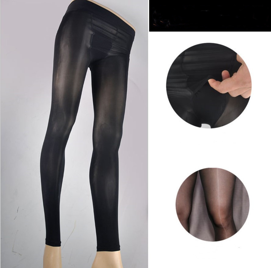 Men Oil Shiny Pantyhose Fancy Stocking Elastic Nylon Tights Sheath Pouch Hosiery