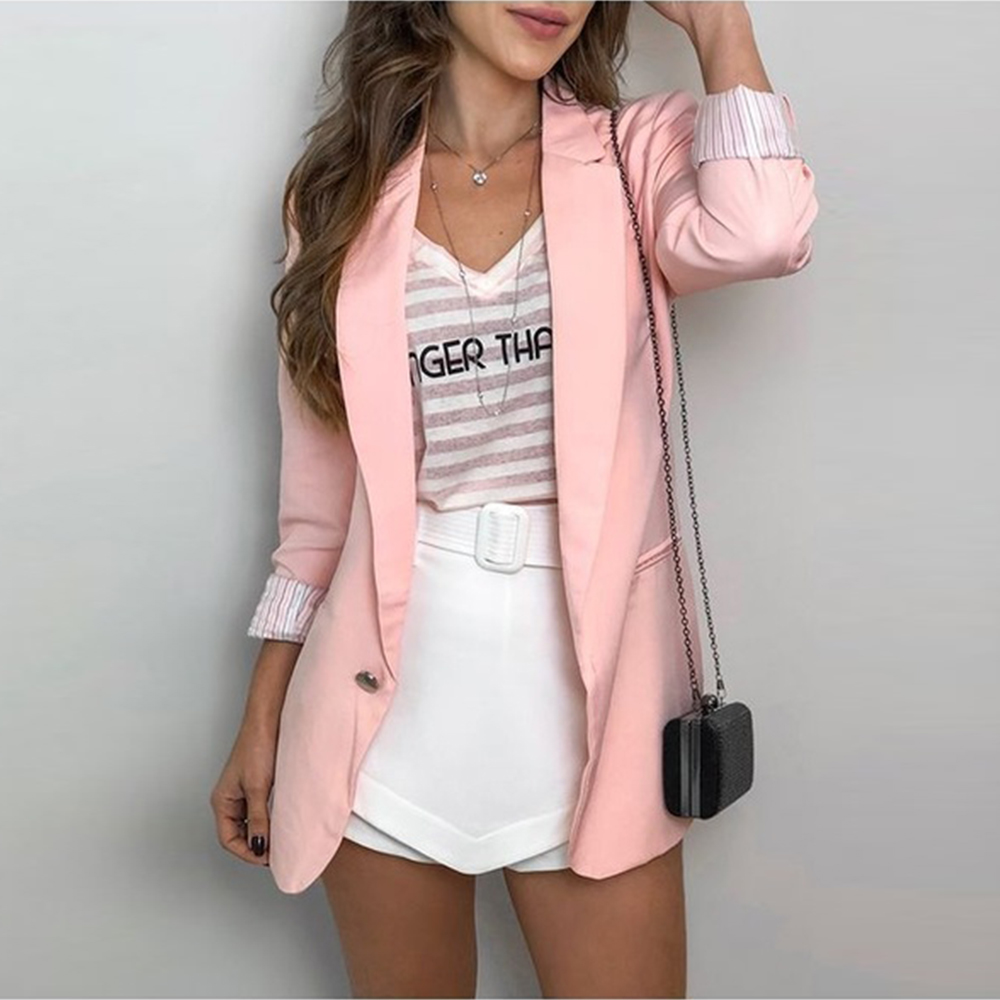 Office Ladies Solid Blazer Single Button Slim Blazer For Women Formal OL Long Sleeve Minimalist Blazer Fashion Female Outfit D30