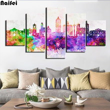 5d diy Diamond Painting 5 Pieces Color city view Pictures cross stitch kits home Decor Diamond Embroidery Mosaic Landscape picture of Rhinestones art(China)