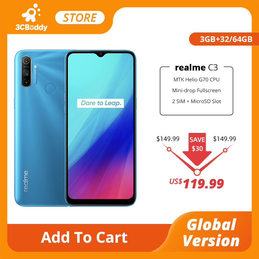 Realme C3 глобальная версия, 3 Гб оперативной памяти, Оперативная память 32GB Встроенная память Мобильный телефон на процессоре Helio G70 12MP AI двойной ...