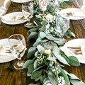 Meidding artificial verde eucalipto guirlanda folhas videira videira falso vieiras vime plantas artificiais hera grinalda decoração da parede do casamento