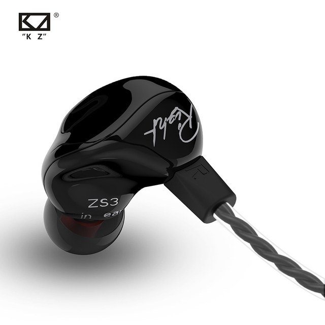 New  KZ ZS3 1DD Hifi Sport In ear Earphone Dynamic Driver Noise Cancelling Headset With Mic Replacement Cable AS10 BA10 ES4