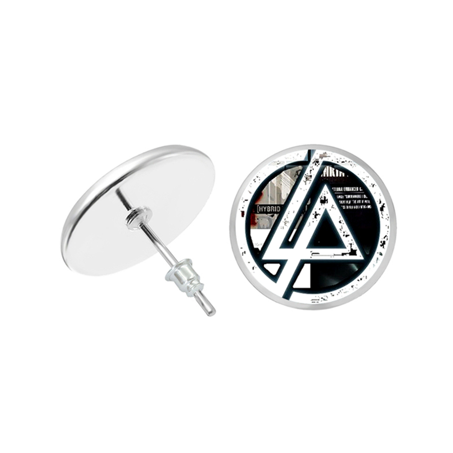 Linkin Park Earrings Rock Band Sign Stud Earrings Glass Cabochon Dome Picture Fans Jewelry Aretes De Mujer Modernos