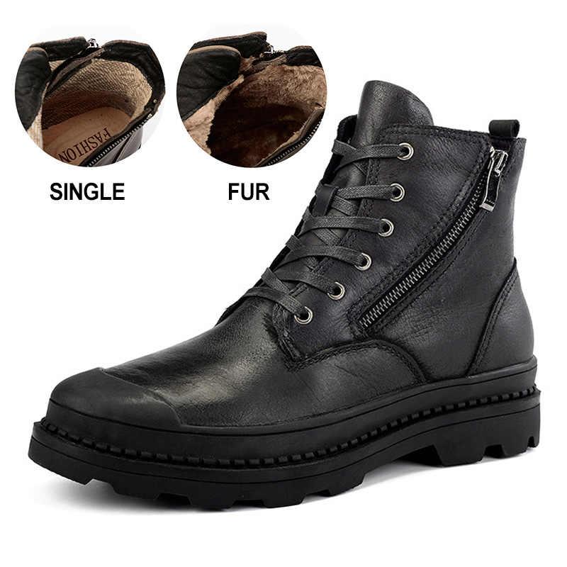 Iş çizmeleri motosiklet erkek botları hakiki deri nefes kış botları Martin çizmeler erkek ayak bileği kışlık ayakkabılar Vintage patik