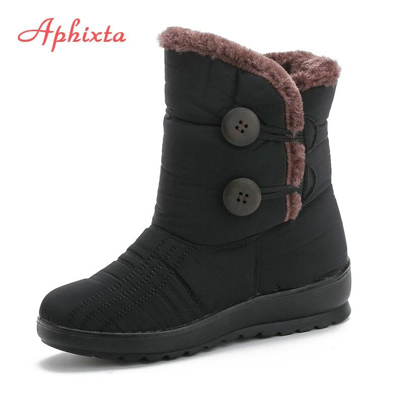 APHIXTA Winter Boots Warm Plush Non-slip Sole Button Open Platform Shoes Snow Woman