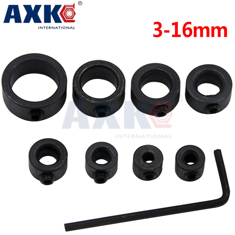 3-16mm Drill Bit Depth Stop Collar Ring Positioner Spacing Ring Woodworking Drill Bit Hole Drill Press Collars + Hex Wrench 085