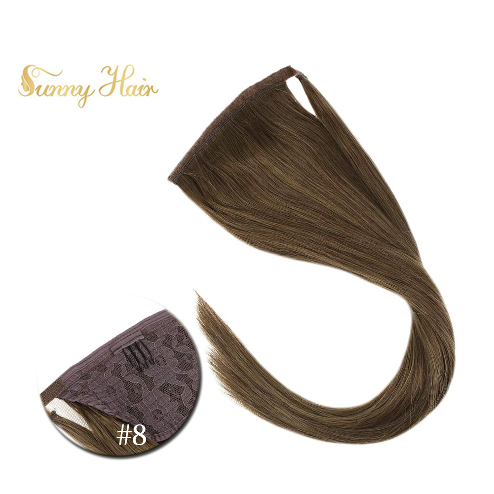 VeSunny Ponytail Extensions Wrap Around Magic Tape 100% Human Hair Straight Light Brown #6