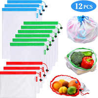12Pack Reusable Mesh Produce Bags Washable Eco Friendly Lightweight Bags For Grocery Shopping Storage Fruit Vegetable Net Bag