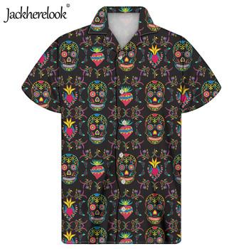 Jackherelook kubańska Guayabera koszula męska cukrowa czaszka drukuj hawajskie bluzki koszule lato Plus rozmiar kolorowe gotyckie ubrania Camisas tanie i dobre opinie Summer Man Casual Short Sleeve Shirt Cuban Guayabera Shirt for Men s Custom Your Image Logo Name Top Shirt Dropshipping And Wholesale