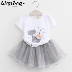 Girls Dress 2020 Girl Clothes Summer Style Cat Cartoon Cute Little White Cartoon Dress Kitten Printed Kids Dresses(China)