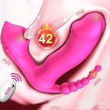 Brinquedos sexuais para mulheres 3 em 1 sucção vibrador 7 modos de vibração otário anal vagina clitóris estimulador wearable sucção oral erótico