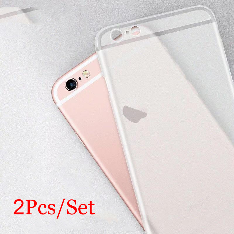 2 Pcs Set for IPhone 6 6s 7 8 Plus Xr Xs Xsmax Matte Transparent I Phone Case on For Apple 6 S 7plus 8plus X R Xmax Max Cover image