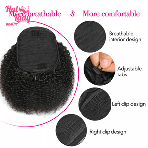 Image 3 - Halo Lady Beauty Drawstring Afro Kinky Curly Ponytail Human Hair Non Remy Indian Hair Extensions Pony Tail For African American