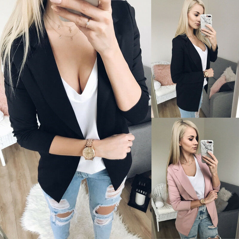 Hot Women Lady Long Sleeve Casual Jacket Coat  Business Blazer Tops Outwear Suit Fashion Pink Black Blazer OL Blazer Tops