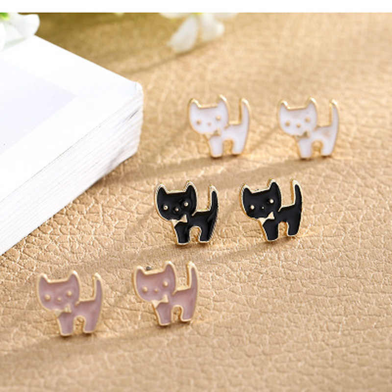 Stud Earrings Cute Cat Oil Drip Fashion Jewelry Accessories Sweet Girl Wedding Party Gifts 2019 Trendy