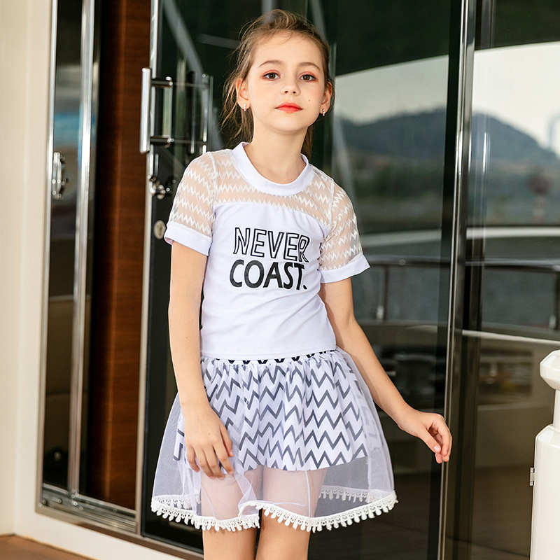 Children Swimsuit Skirt One-piece Swimwear Gauze Short Sleeve Big Boy Princess Cute Girls South Korea Kids Baby