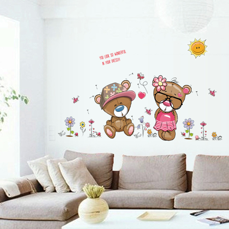 Cartoon Cute Animal Bear Flowers