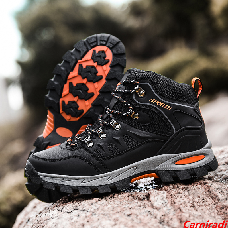 Unisex High-top Leather Autumn Hiking Shoes Women Outdoor High Quality Trekking Casual Sneakers Men Non-slip Sport Walking Boots