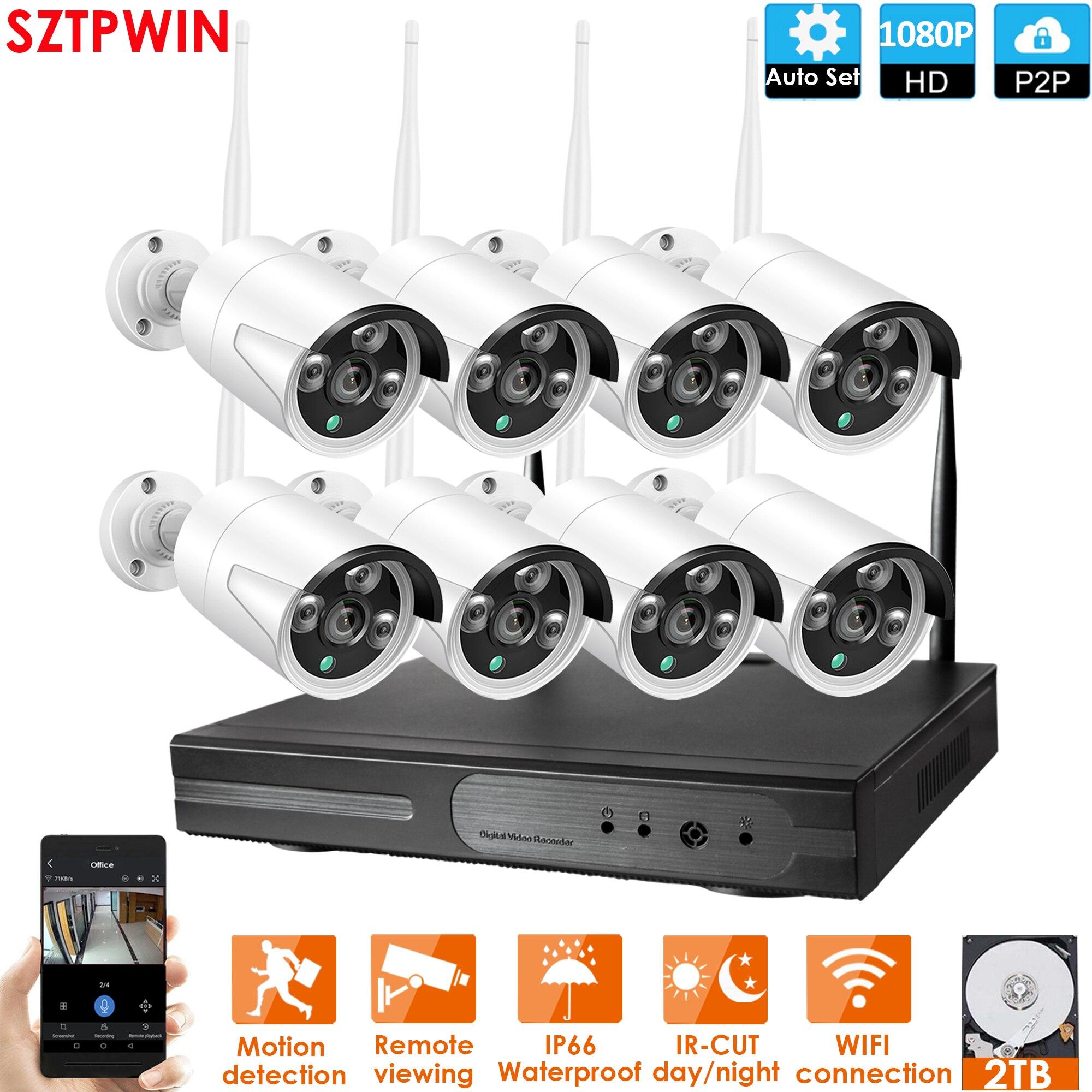 Plug en Play 8CH 1080P HD Draadloze NVR Kit P2P 1080P Indoor Outdoor IR Nachtzicht Beveiliging 2.0MP IP Camera WIFI CCTV Systeem-in Bewakingssysteem van Veiligheid en bescherming op  Groep 1