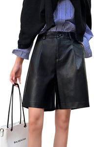 Trouser Shorts Autumn Plus-Size Fashion Women's Back-Buttons Winter New PU Loose Five-Points