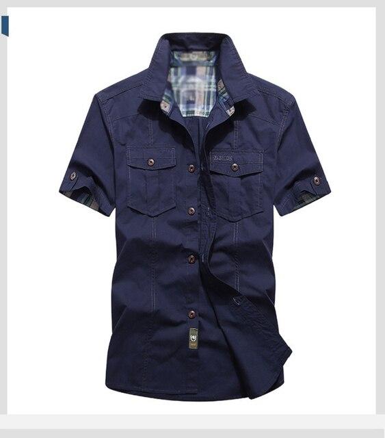 Летняя рубашка с коротким рукавом в военном стиле 5