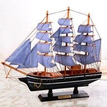 Navio de vela de madeira estilo mediterrâneo decoração para casa artesanal esculpida náutico barco modelo presente nsv775