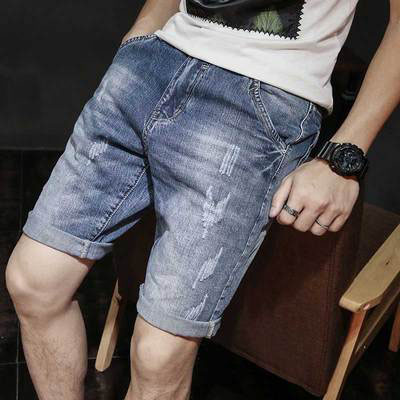 Men's Linen Jeans Men's Summer Thin Tide Loose Casual Shorts 7 Pants Trends Korean