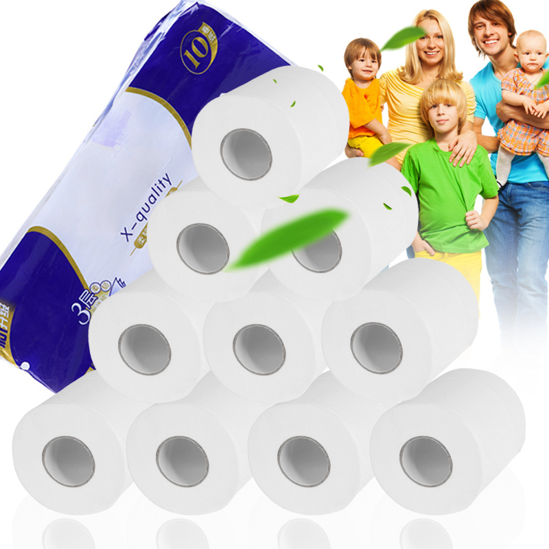 3-Layer Paper Towels Roll Toilet Roll Tissue Smooth Toilet Paper 10/20pcs FS99
