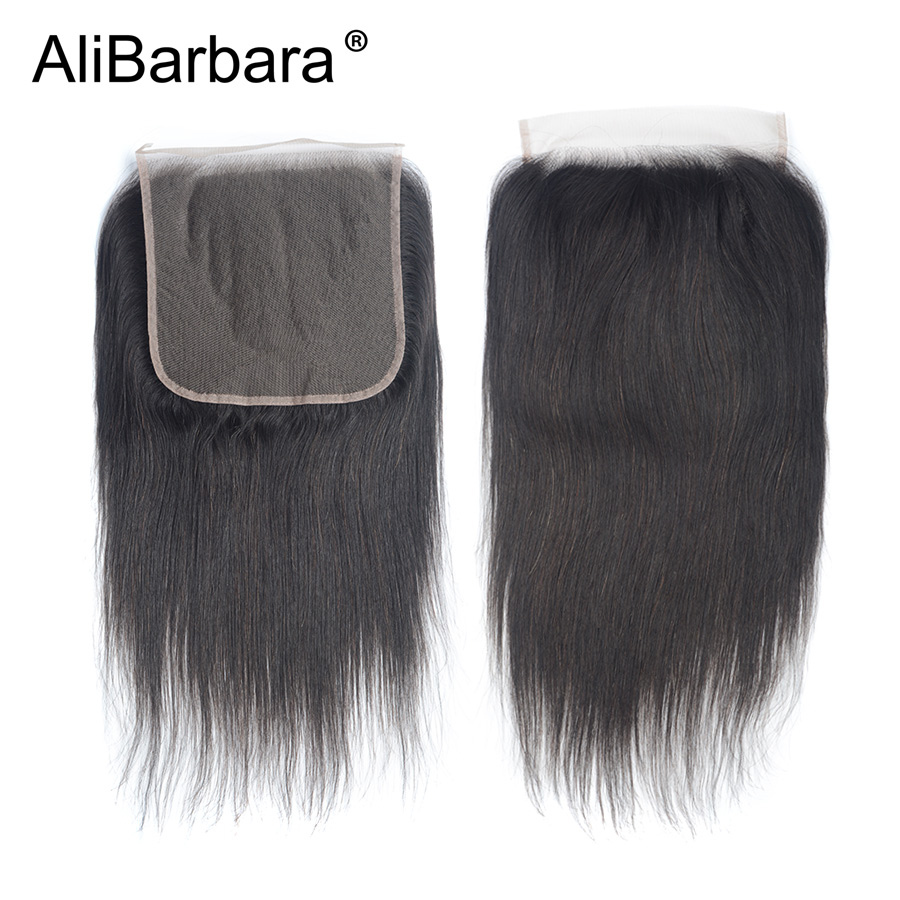 H0870fed564fa4546af3c600333162c47K Alibarbara Brazilian Straight Hair With Closure 4*4 5*5 6*6 Free Middle Part Closure with Bundle Remy Human Hair Bundles With Cl