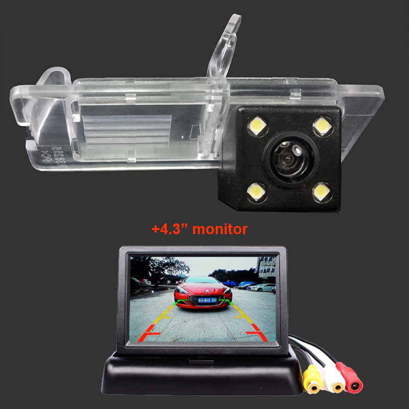 Car Rear View Camera For Renault Fluence Duster Megane Latitude Scenic 2 Laguna 2 3 With 4.3inch LCD Foldable Monitor