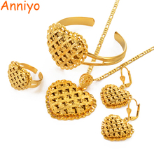 African Heart Jewelry Sets Ethiopian Gold Color Wedding Necklace Earrings Bangle Ring Dubai Arab Bride Jewellery #119106