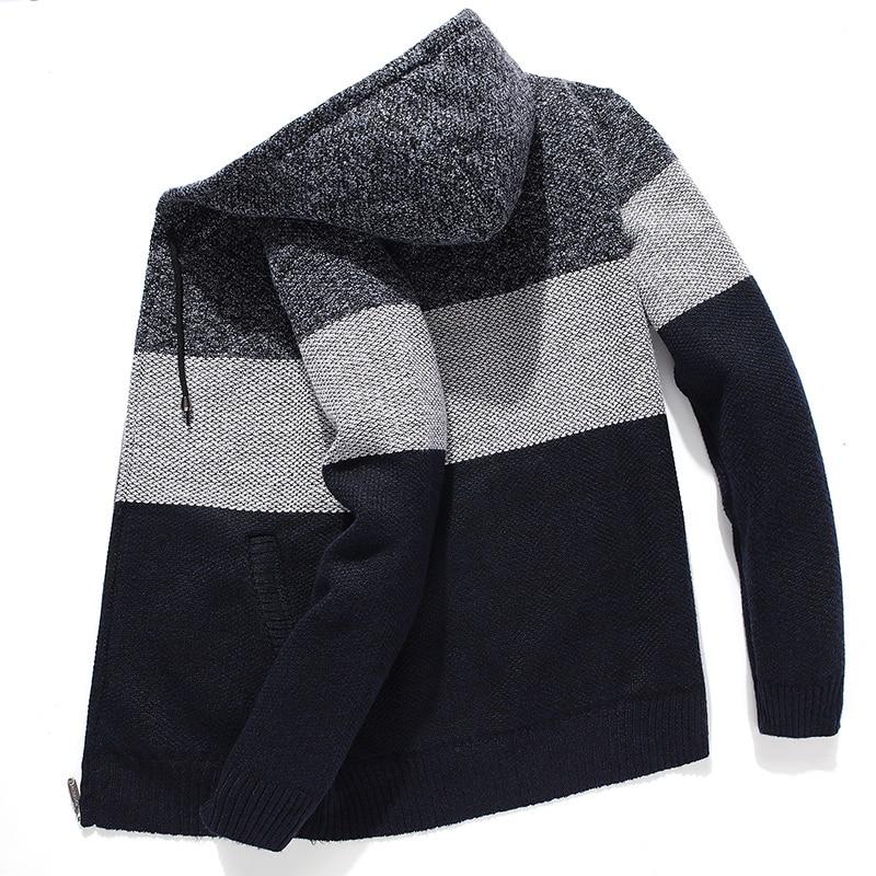 Korean Hooded Sweater Clothes For Men Fleece Knitted Striped Men's Hoodies Cardigan Coat Winter Zipper Oversized Sweater Hombre