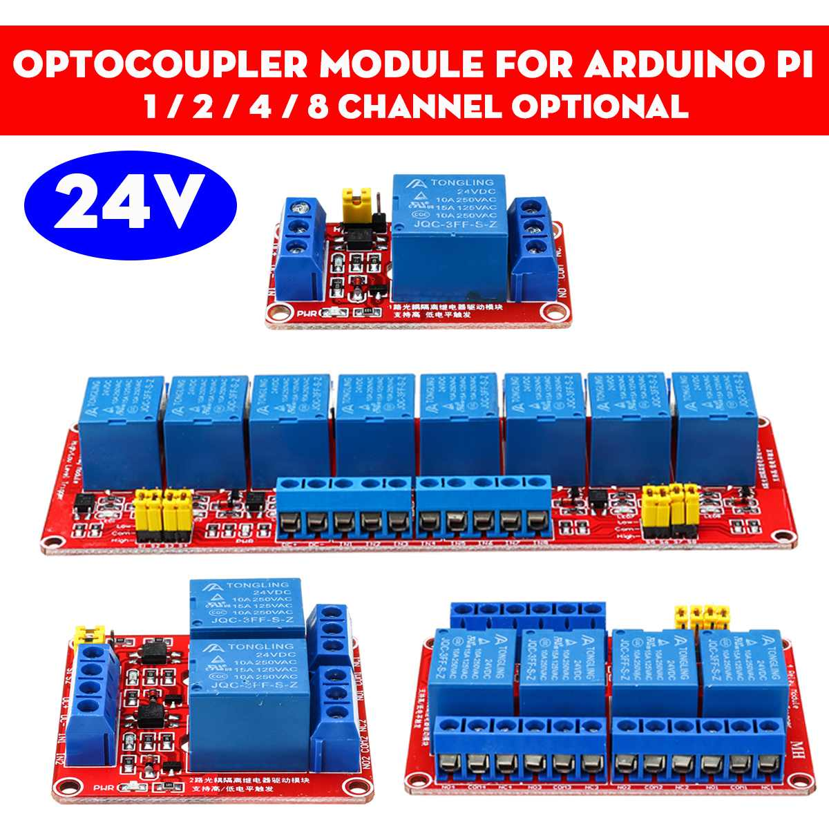 5V <font><b>12V</b></font> <font><b>24V</b></font> 1 2 4 8 Channel Relay Module with Optocoupler Relay Output Relay Module For <font><b>Arduino</b></font> image