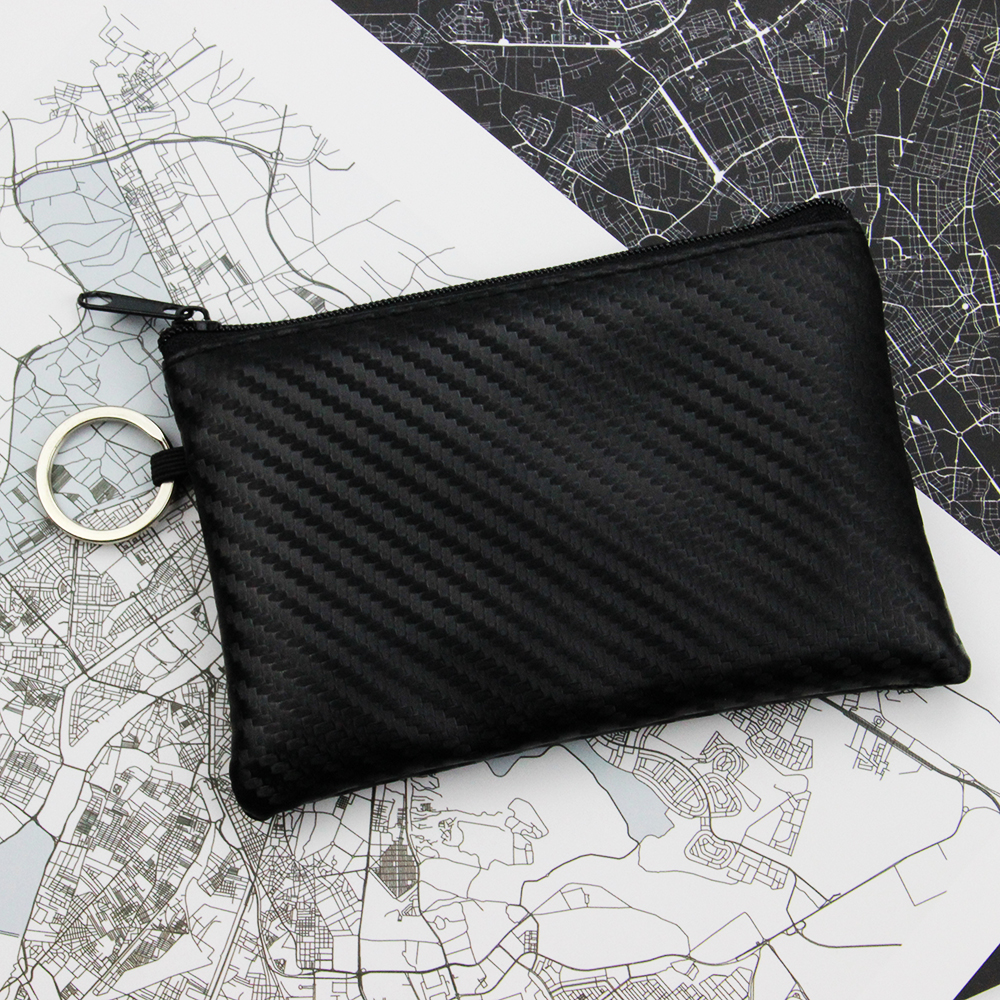 Women & Men Mini Pouch Carbon Fiber PU Leather Bag Small Zipper Coin Purse Card Holder Money Key Wallet With Ring Kids Gifts