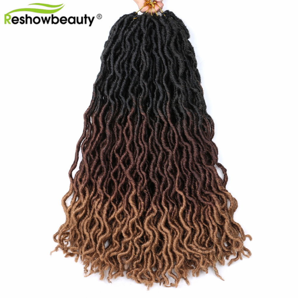Gypsy Locs Hair Extensions Crochet Bohemian Braiding Fake Hair 24 Strands/Pack Synthetic Braiding Goddess Hair Reshowbeauty