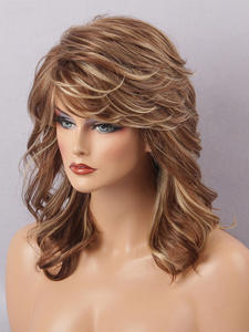 Wigs Synthetic-Hair Female Sexy Lana-Blend Wavy Medium with Bangs for White Women Imitation-Wigs