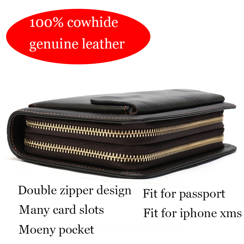 Image 2 - WESTAL Mens Wallet Genuine Leather Clutch Male Mens Clutch Bag Double Zip Wallet Leather Men Long Wallets Purse Money Bag 9069male pursemen purseclutch bag men -