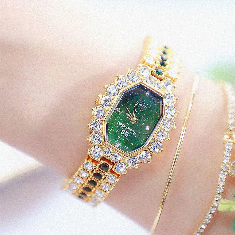 BS Hot Sales Watch Full Crystal Diamond Women's Watch ladies watch luxury brand gold wrist watch Bracelet Clasp date clock