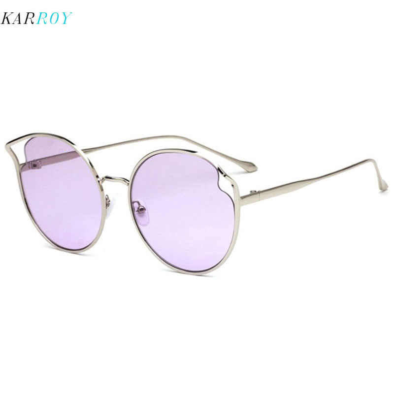 ใหม่มาถึงบุคลิกภาพ Cat Eye แว่นตากันแดดแฟชั่นผู้หญิงโลหะ UV400 แว่นตาผู้ชาย 2019