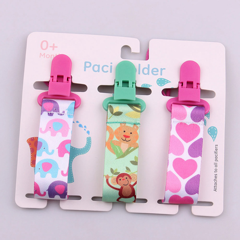 3pcs Pacifier Clips For Baby Newborn Soother Clip Chain Cartoon Print Soother Clip Chain Holder Infant Feeding Baby Accessories