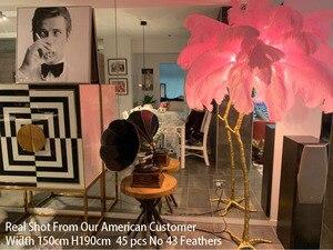 Image 2 - Piuma di Struzzo Luce Della Lampada Moderna Da Terra In Rame Luce Living Room Hotel Illuminazione A Pavimento