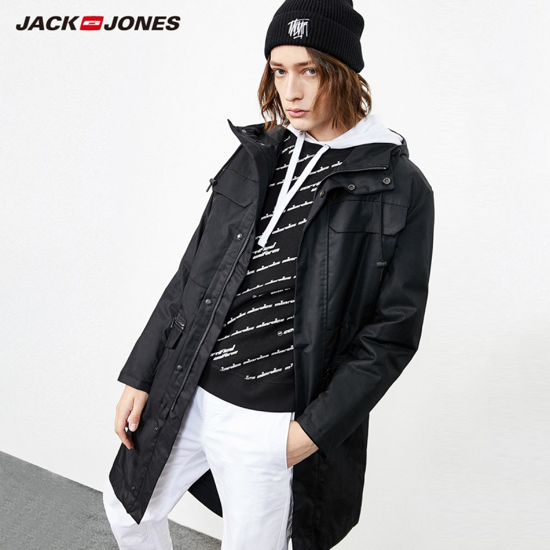 JackJones Men's Streetwear Hooded Parka Coat Long Padded Jacket Trench Coat Menswear 218409507