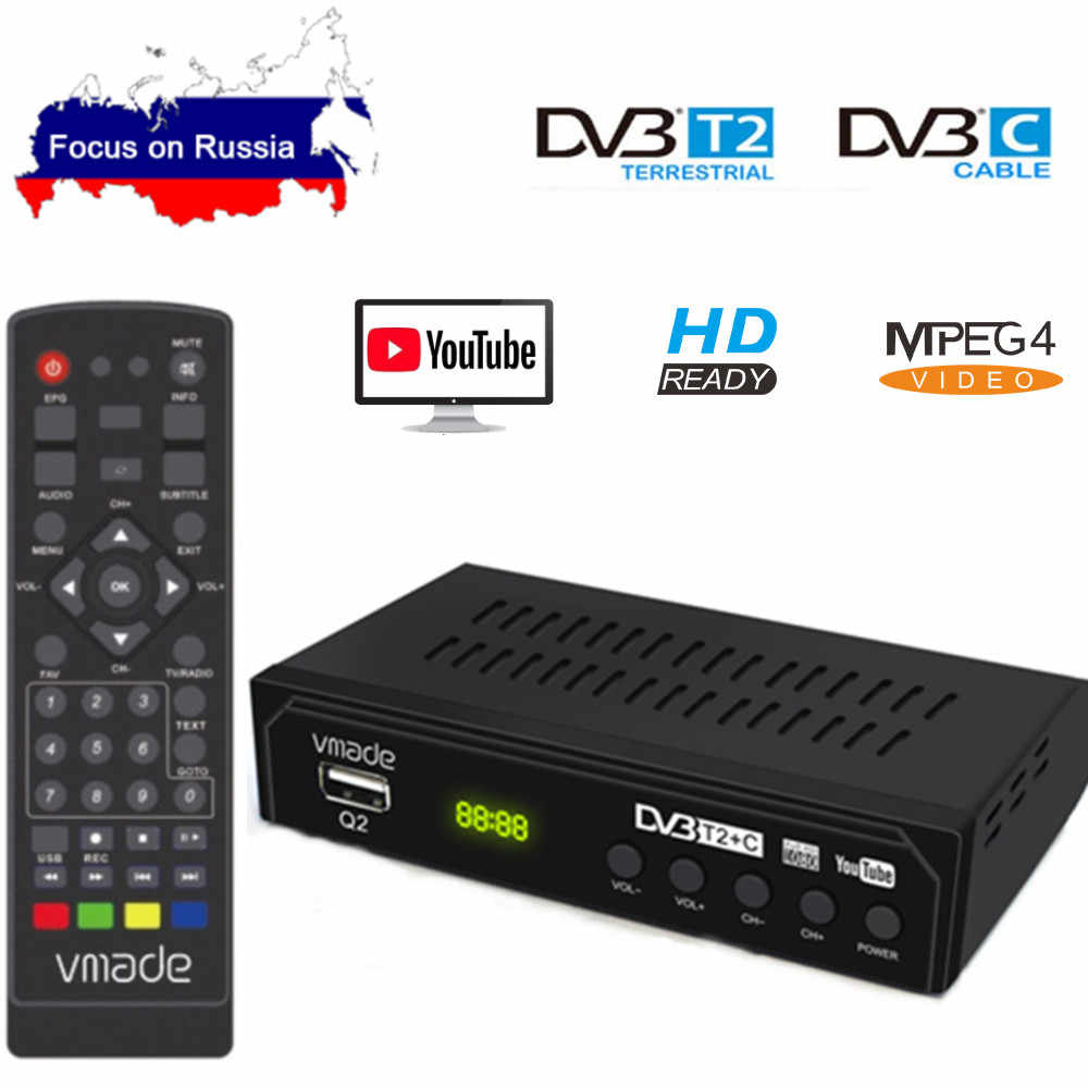 DVB-T2 DVB-C Digital TV Tuner Receiver WIFI 1080P HD Decoder TV Box DVB-T M3U IPTV Youtube TV Rezeptor Russische set Top Box